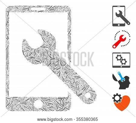 Line Mosaic Based On Smartphone Setup Wrench Icon. Mosaic Vector Smartphone Setup Wrench Is Designed