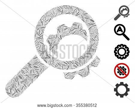 Hatch Mosaic Based On View Configuration Gear Icon. Mosaic Vector View Configuration Gear Is Designe