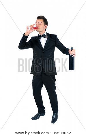 Isolated young elegant man drunk