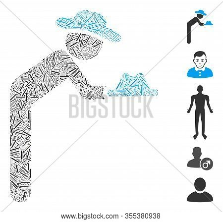 Line Mosaic Based On Gentleman Servant Icon. Mosaic Vector Gentleman Servant Is Created With Random