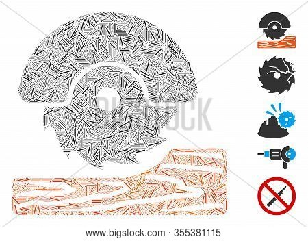 Line Mosaic Based On Circular Wood Cutter Icon. Mosaic Vector Circular Wood Cutter Is Formed With Sc