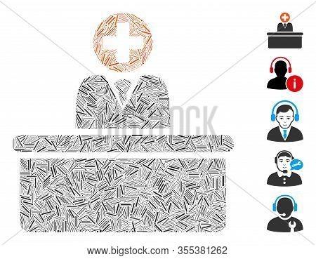 Line Mosaic Based On Medical Bureaucrat Icon. Mosaic Vector Medical Bureaucrat Is Composed With Scat