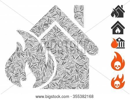 Hatch Mosaic Based On Realty Fire Disaster Icon. Mosaic Vector Realty Fire Disaster Is Designed With