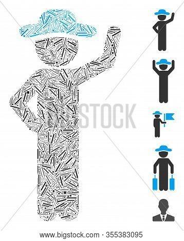 Hatch Collage Based On Gentleman Assurance Icon. Mosaic Vector Gentleman Assurance Is Formed With Ra