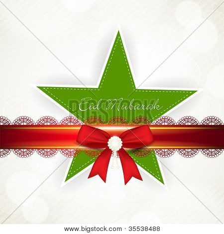 Eid Mubarak tag or sticker with red ribbon and Star. EPS 10.