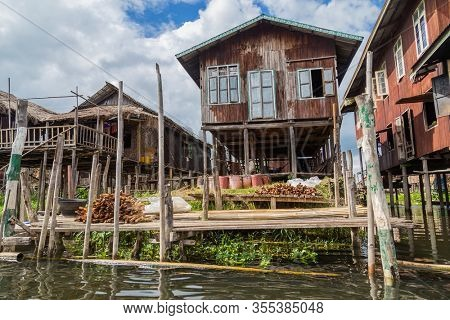 Wooden floating houses on Inle Lake in Shan, Myanmar. Inle Lake is a freshwater lake located in the Nyaungshwe Township of Taunggyi District of Shan State.