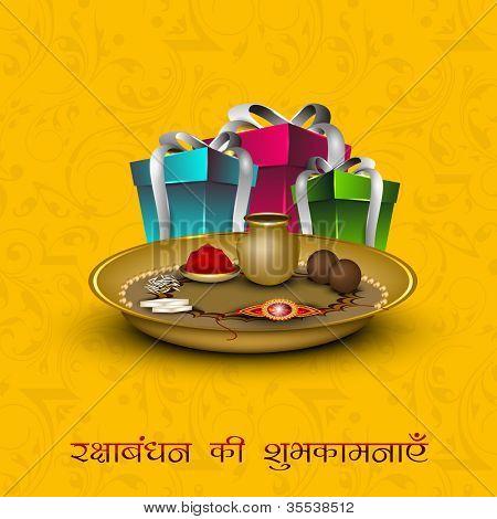 Raksha Bandhan theme with gift boxes, Rakhi and sweets. EPS 10.