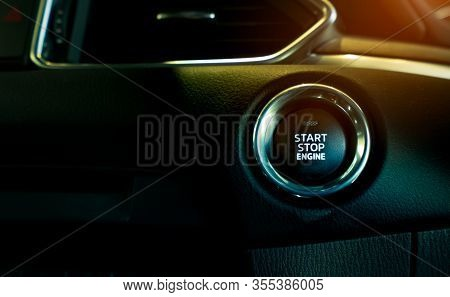 Start Stop Engine Button Of Luxury Car. Push Up Button For Start Or Stop Car Engine In Keyless Autom