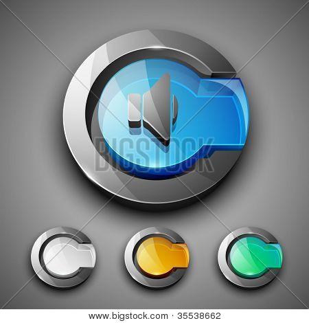 Glossy 3D web 2.0 sound symbol icon set. EPS 10.