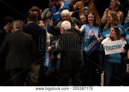 Saint Louis, MO, USA - March 9, 2020: Senator Bernie Sanders salutes supporters at the Bernie 2020 Rally in Downtown Saint Louis.