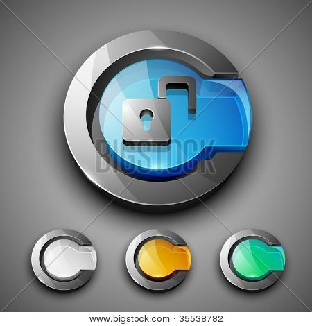 Glossy 3D web 2.0 unlock, login or security symbol icon set. EPS 10.