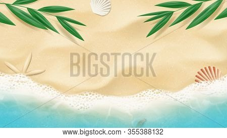 Summer Horizontal Banner With Top View On Beach. Top View On Ocean Beach With Soft Waves And Tropica