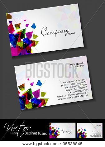 poster of Professional and designer business card template or visiting card set with creative abstract design. EPS 10.