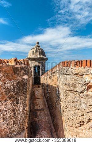 Puerto Rico San Juan travel fort Castillo San Felipe del Morro, citadel in Old town. Caribbean USA.
