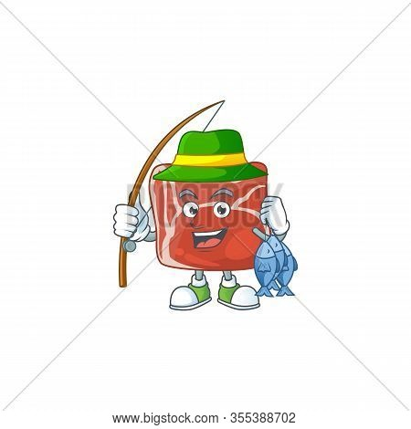 Cartoon Character Style Of Funny Fishing Beef
