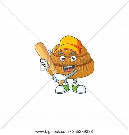 Cartoon Design Of Kanelbulle Having Baseball Stick