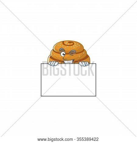 Cheerful Kanelbulle Cartoon Character Has A Board