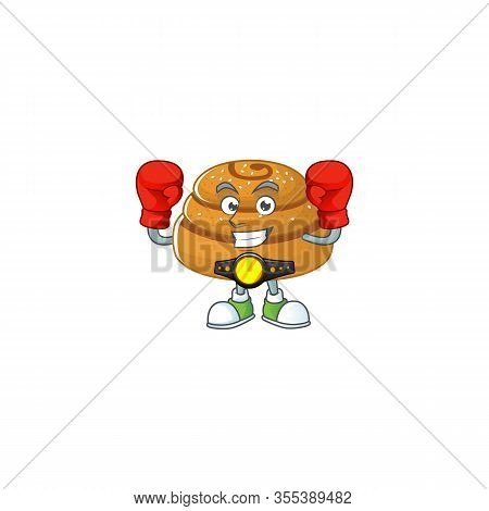 A Sporty Boxing Of Kanelbulle Mascot Design Style