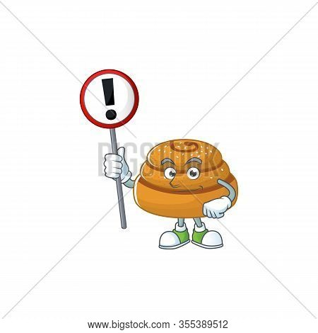 Smiling Cartoon Design Of Kanelbulle With A Sign