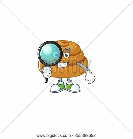 Cool And Smart Kanelbulle Detective Mascot Design Style