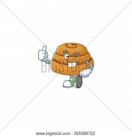 Kanelbulle Cartoon Character Making Thumbs Up Finger