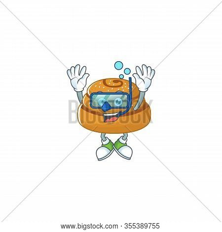 A Cartoon Design Of Kanelbulle Trying Diving Glasses