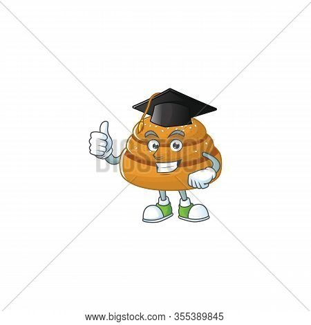 Happy Face Of Kanelbulle In Black Graduation Hat For The Ceremony