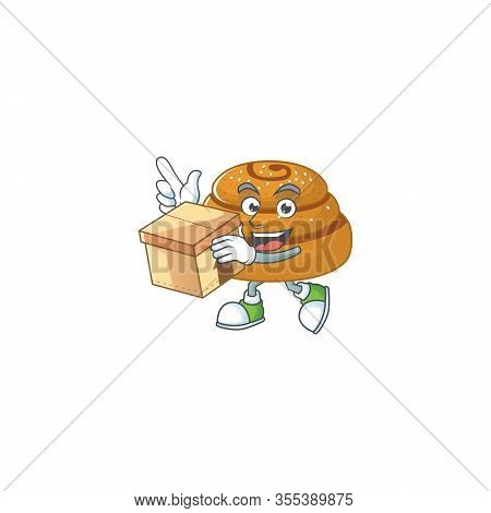 An Icon Of Kanelbulle Mascot Design Style With A Box