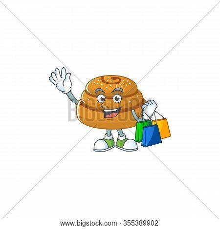 Smiley Rich Kanelbulle Mascot Design With Shopping Bag