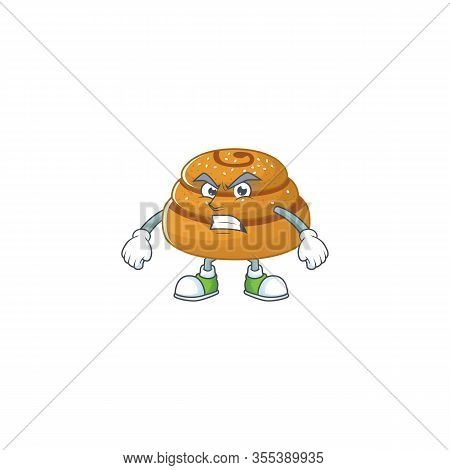 Charming Kanelbulle Mascot Design Style Waving Hand