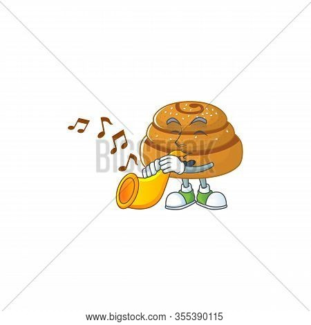 Kanelbulle Cartoon Character Playing Music With A Trumpet