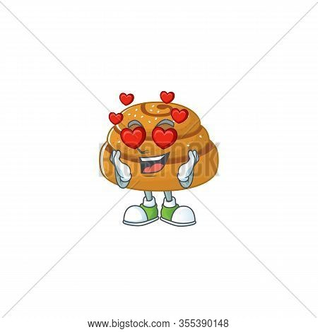 Romantic Kanelbulle Cartoon Character With A Falling In Love Face