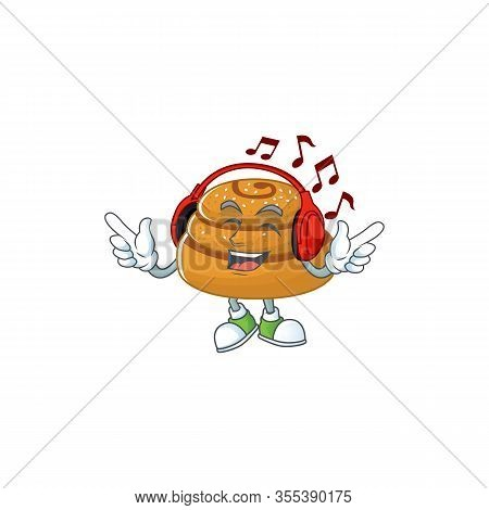 Cartoon Mascot Design Of Kanelbulle Enjoying Music