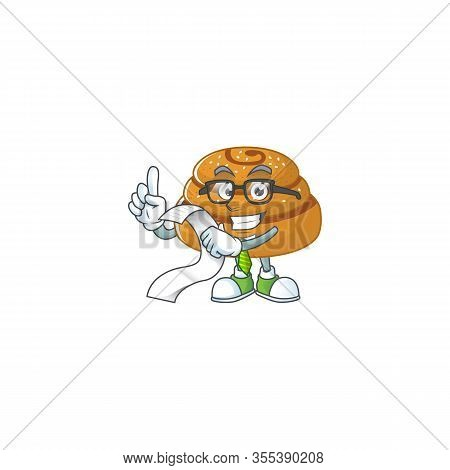 Cartoon Character Of Kanelbulle Holding Menu On His Hand