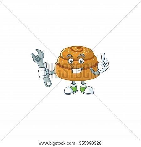 Cartoon Mascot Design Concept Of Kanelbulle Mechanic