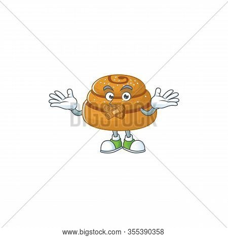 Kanelbulle Cartoon Character Design Concept Showing Silent Gesture