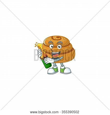 Mascot Cartoon Design Of Kanelbulle With Bottle Of Beer