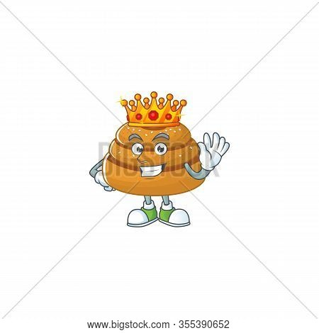 A Charismatic King Of Kanelbulle Cartoon Character Design