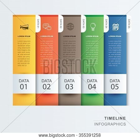 5 Data Infographics Tab Paper Index Template. Vector Illustration Abstract Background. Can Be Used F