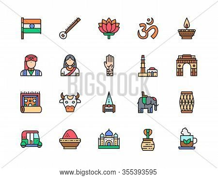 Set Of Indian Culture Flat Color Line Icons. Elephant, Cobra, Mantra And More.