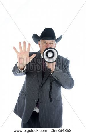 Coronavirus outbreak. COVID-19. A Cowboy uses his MEGA PHONE to warn everyone about the dreaded Coronavirus2019. Coronavirus Cases: 105,994. COVID-19 Deaths: 3,570. Texas Coronavirus. Be Safe.
