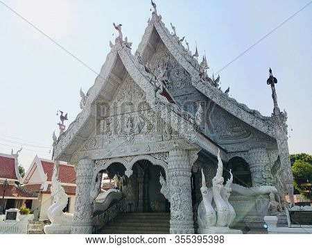 Exterior Hall Of Nan City Pillar Shrine Or Ming Mueang Temple At Nan Province, Northern Of Thailand