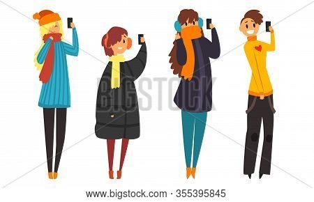 Trendy People With Gadgets Collection, Young Man And Woman Taking Selfie For Social Median Networks