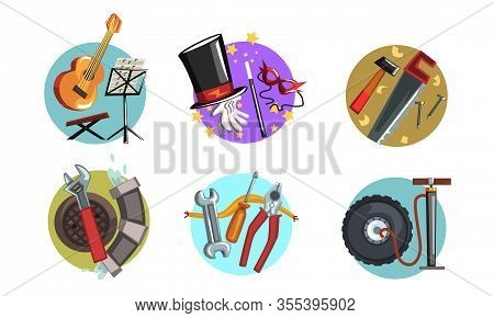 Symbols Of Various Professions Collection, Musician, Magician, Carpenter, Plumber Signs Vector Illus