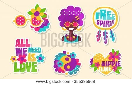Colorful Retro Hippie Patches And Emblems Collection, Bright Vintage Stickers Vector Illustration