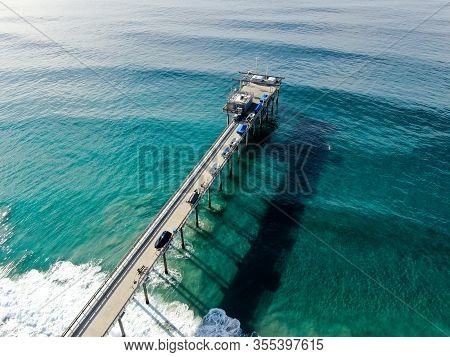 Aerial View Of The Scripps Pier Institute Of Oceanography, La Jolla, San Diego, California, Usa. Res