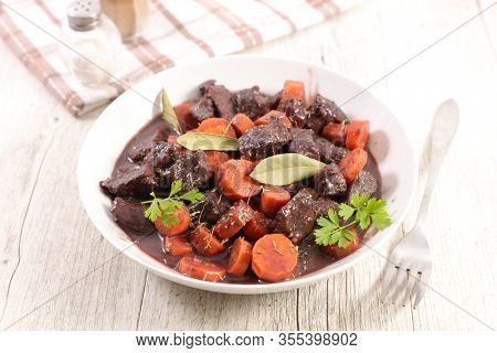 beef stew with carrot and herb