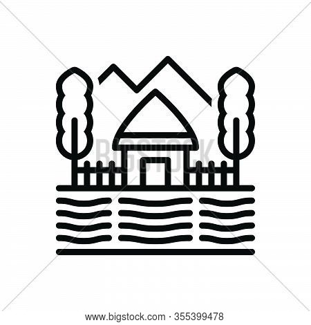 Black Line Icon For Village Pueblo Thorp Suburb Homegrown Hut Farm Country-side Tree Mountain