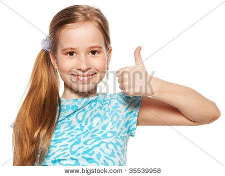 Happy girl showing thumb up. Happiness child showing sign okay