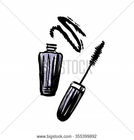 Hand Drawn Vector Mascara. Make Up Object On White Background.
